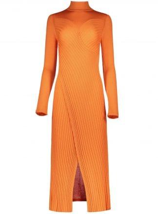 frida orange dress merinos wool knitwear violante