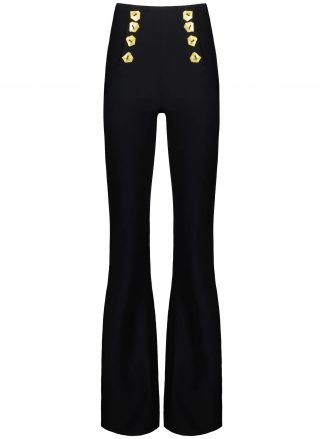 Matisse black trousers gold buttons violante front view